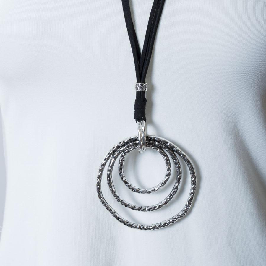 Necklace  Black/Silver Circles - Blue Sky Clothing Co