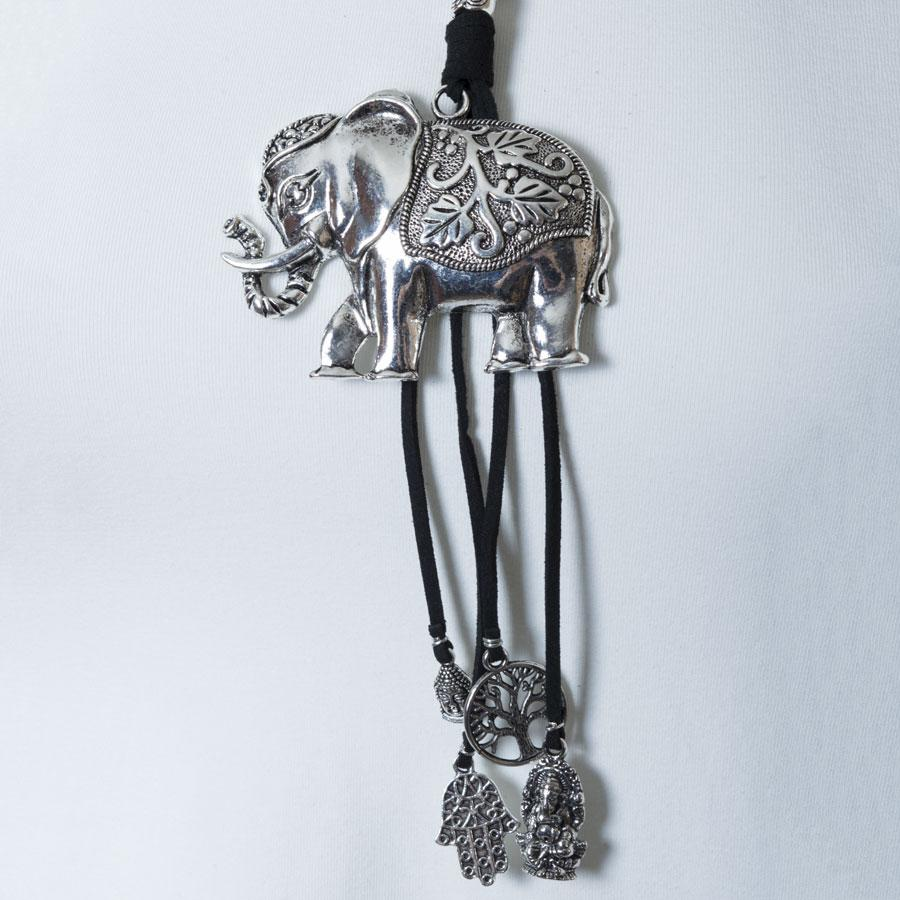 Necklace  Black/Silver Elephant - Blue Sky Clothing Co