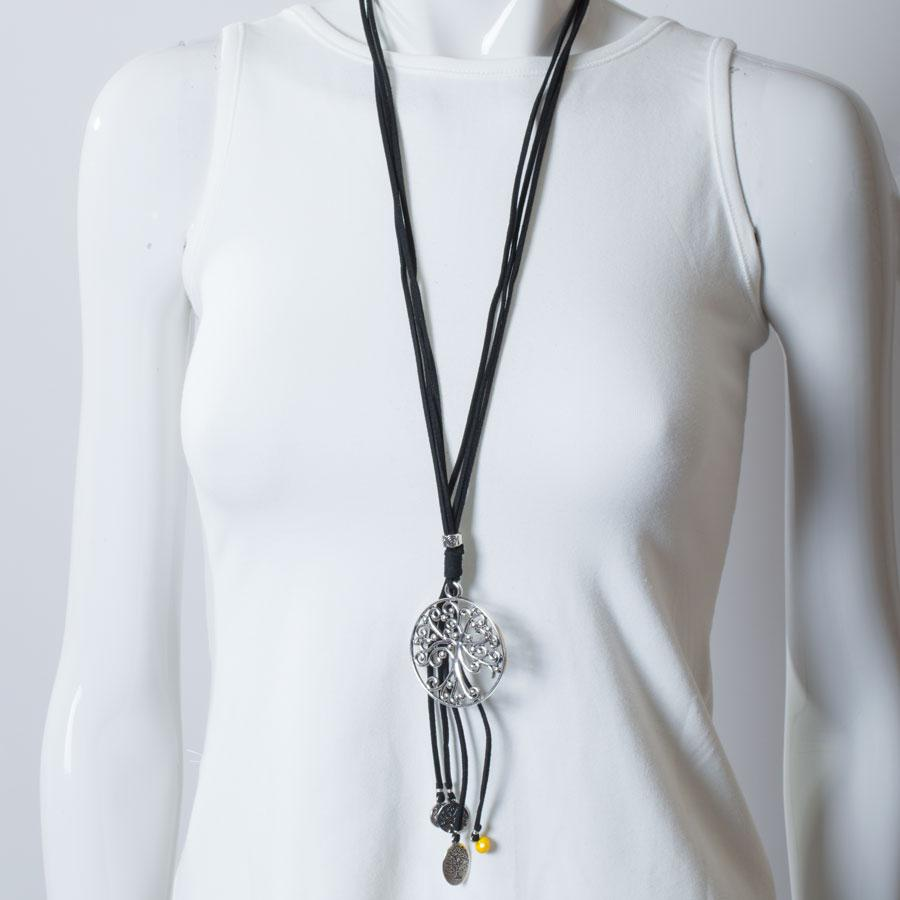 Necklace  Black/Yellow Tree of Life