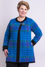 Women's long-sleeve blue plaid coat made with cotton.