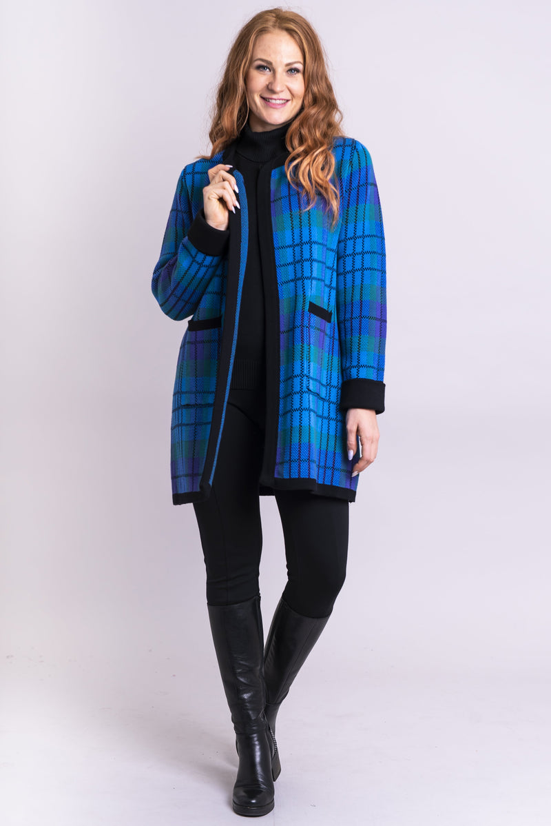 Blaire Sweater, Galaxy Plaid, Cotton - Blue Sky Clothing Co
