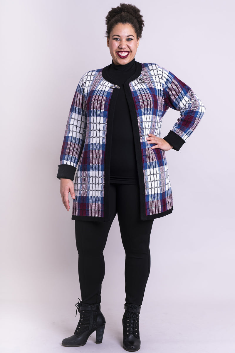 Blaire Sweater, Multi Plaid, Cotton - Blue Sky Clothing Co