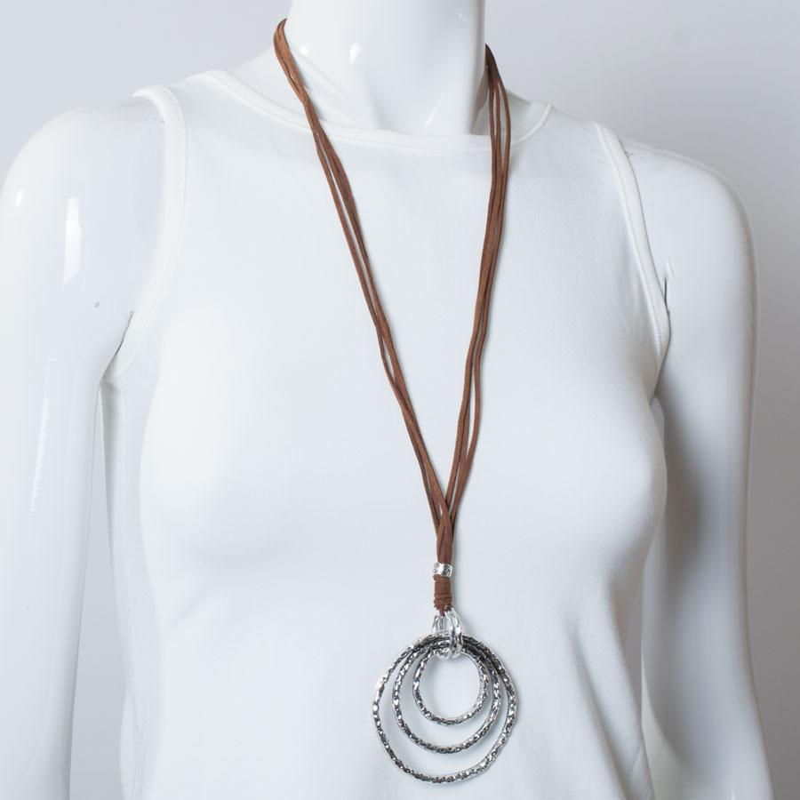 Necklace  Brown/Silver Circles - Blue Sky Clothing Co
