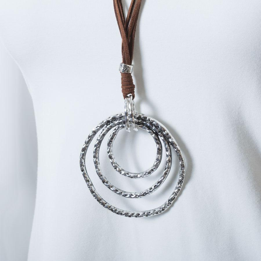 Necklace  Brown/Silver Circles