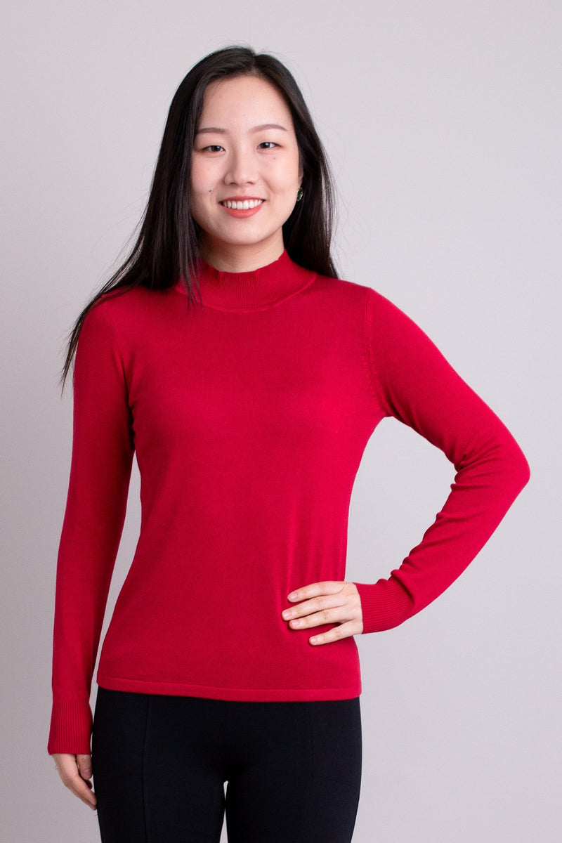 Women's red long-sleeve mock neck sweater. Made with sustainable and natural fibers, fair-trade.