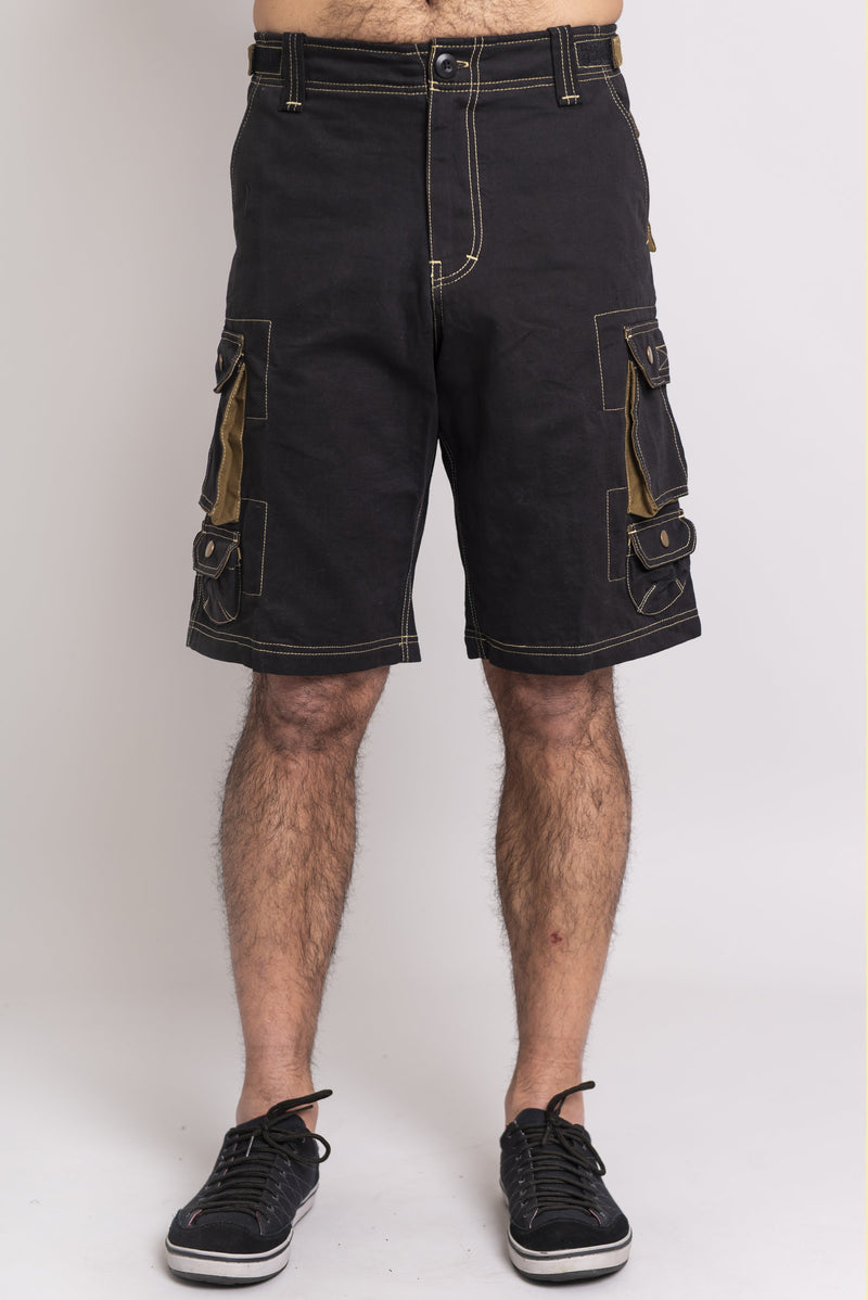 Cargo Shorts, Black/Khaki, Cotton Canvas - Blue Sky Clothing Co