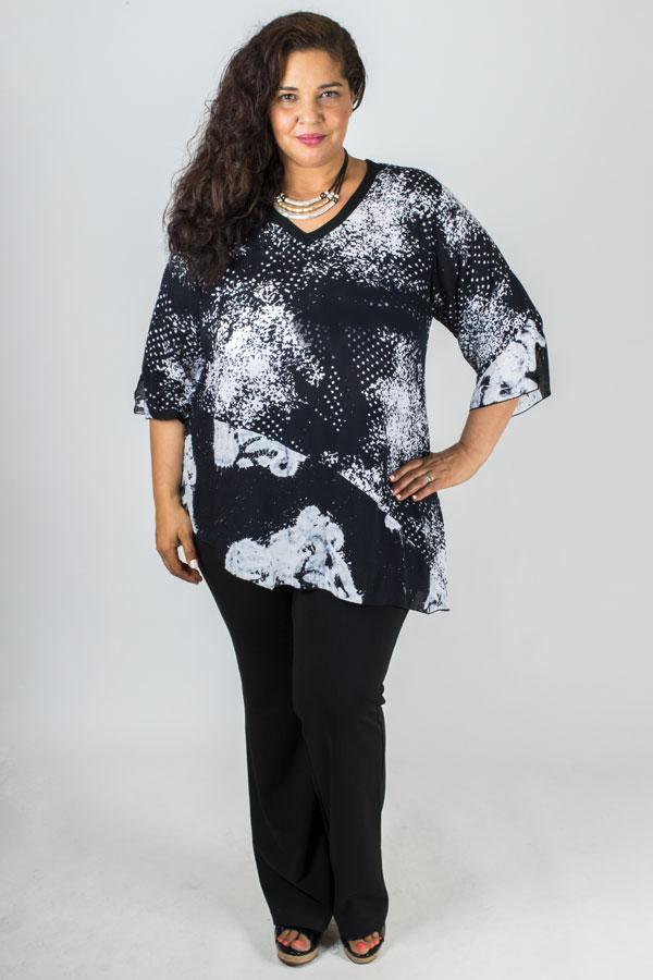 Carny Top, Black/White Speckles, Batik Art - Blue Sky Clothing Co