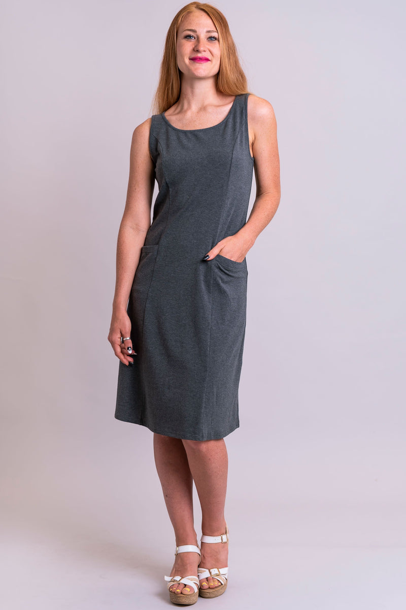 Celia Dress, Yarn Dye Grey, Bamboo - Blue Sky Clothing Co
