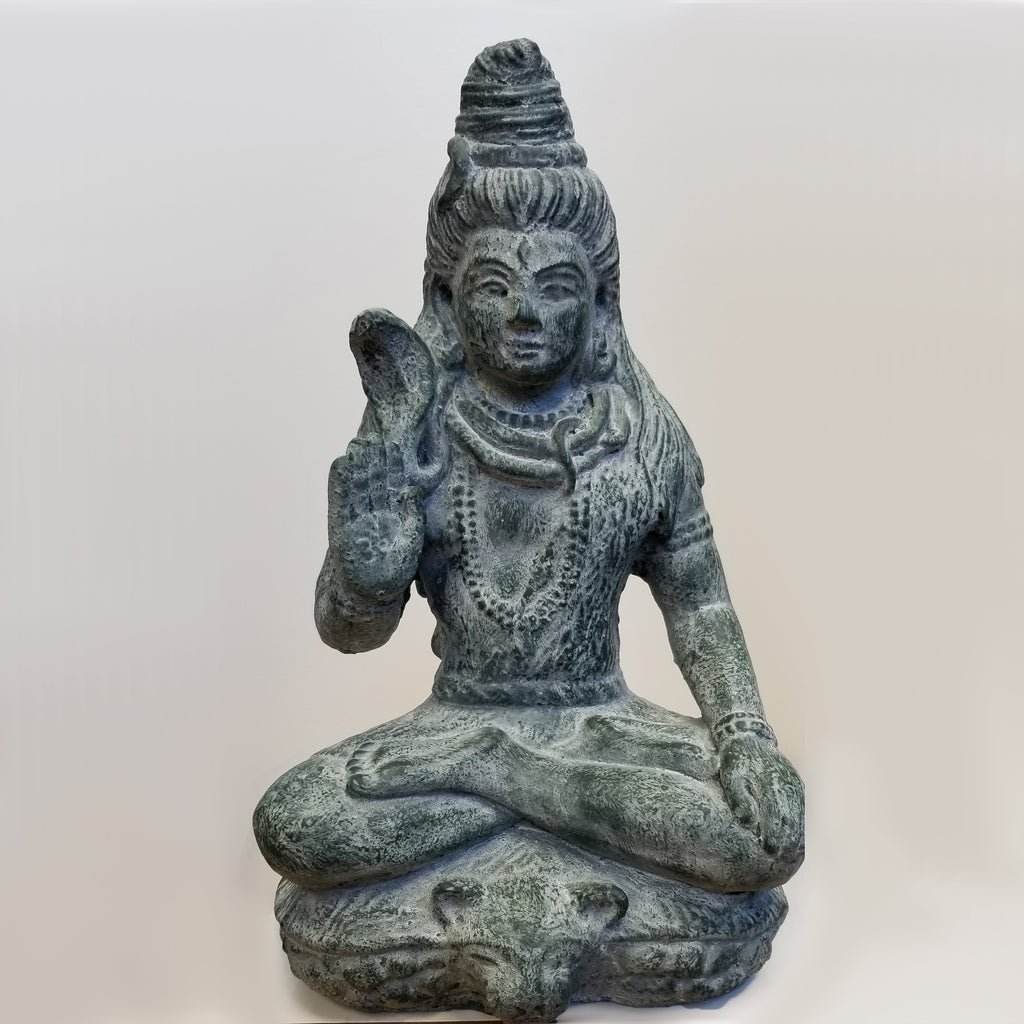 Cement Green Shiva Statue - Blue Sky Clothing Co