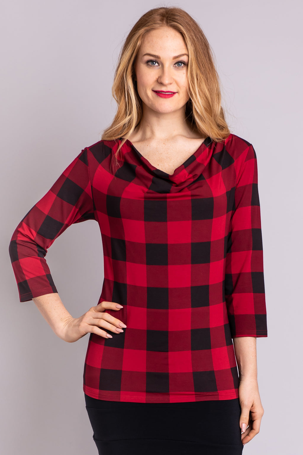 Charisse 3/4 Top, Red Plaid - Blue Sky Clothing Co