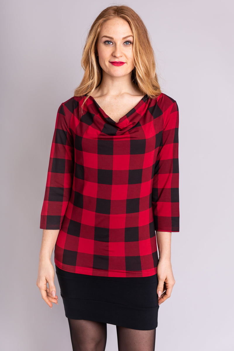 Charisse 3/4 Top, Red Plaid