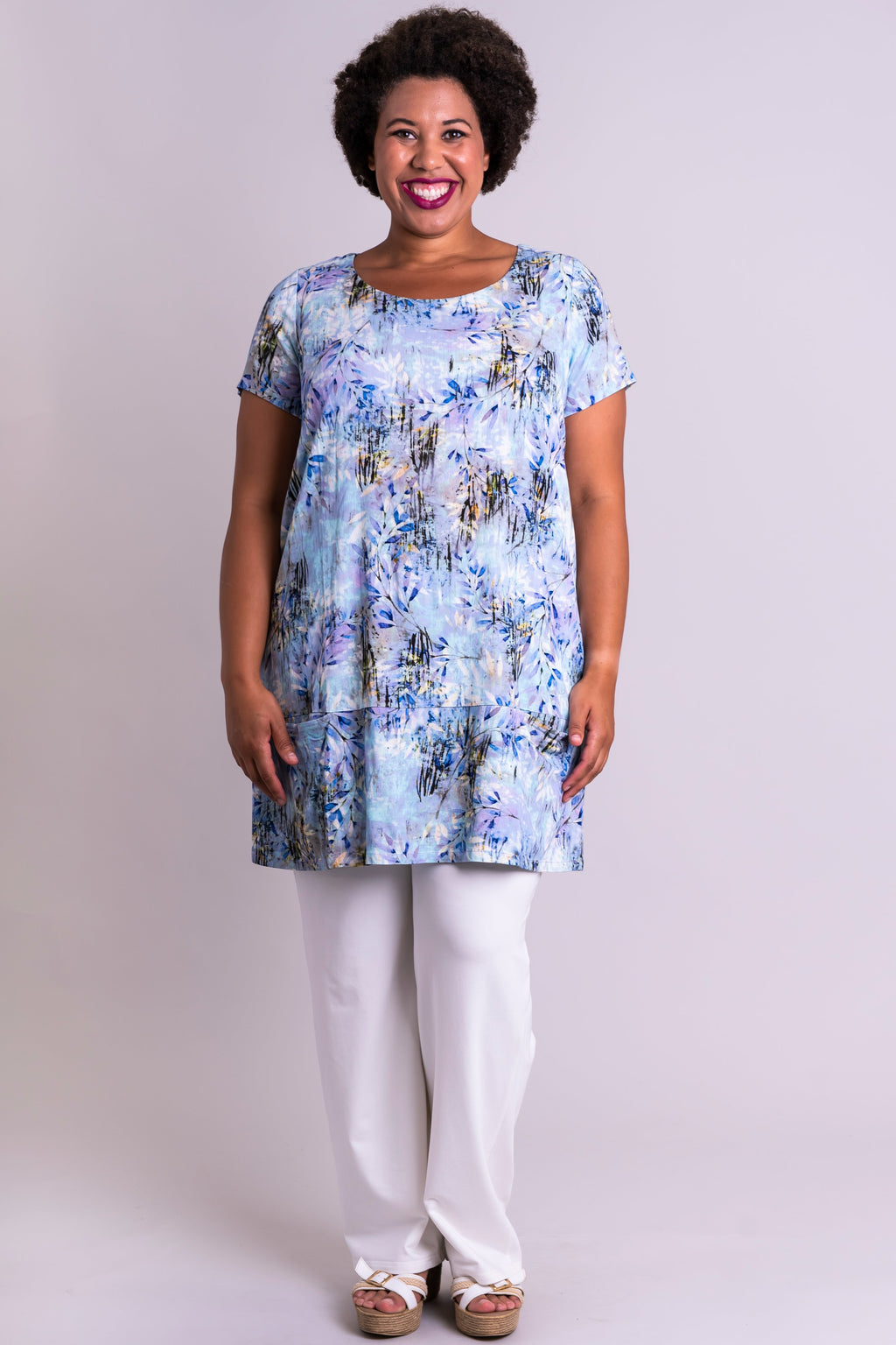 Charlene Tunic, Blue Zest, Linen Bamboo - Blue Sky Clothing Co