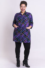Charlie Tunic, Beautyberry Tartan, Bamboo - Blue Sky Clothing Co
