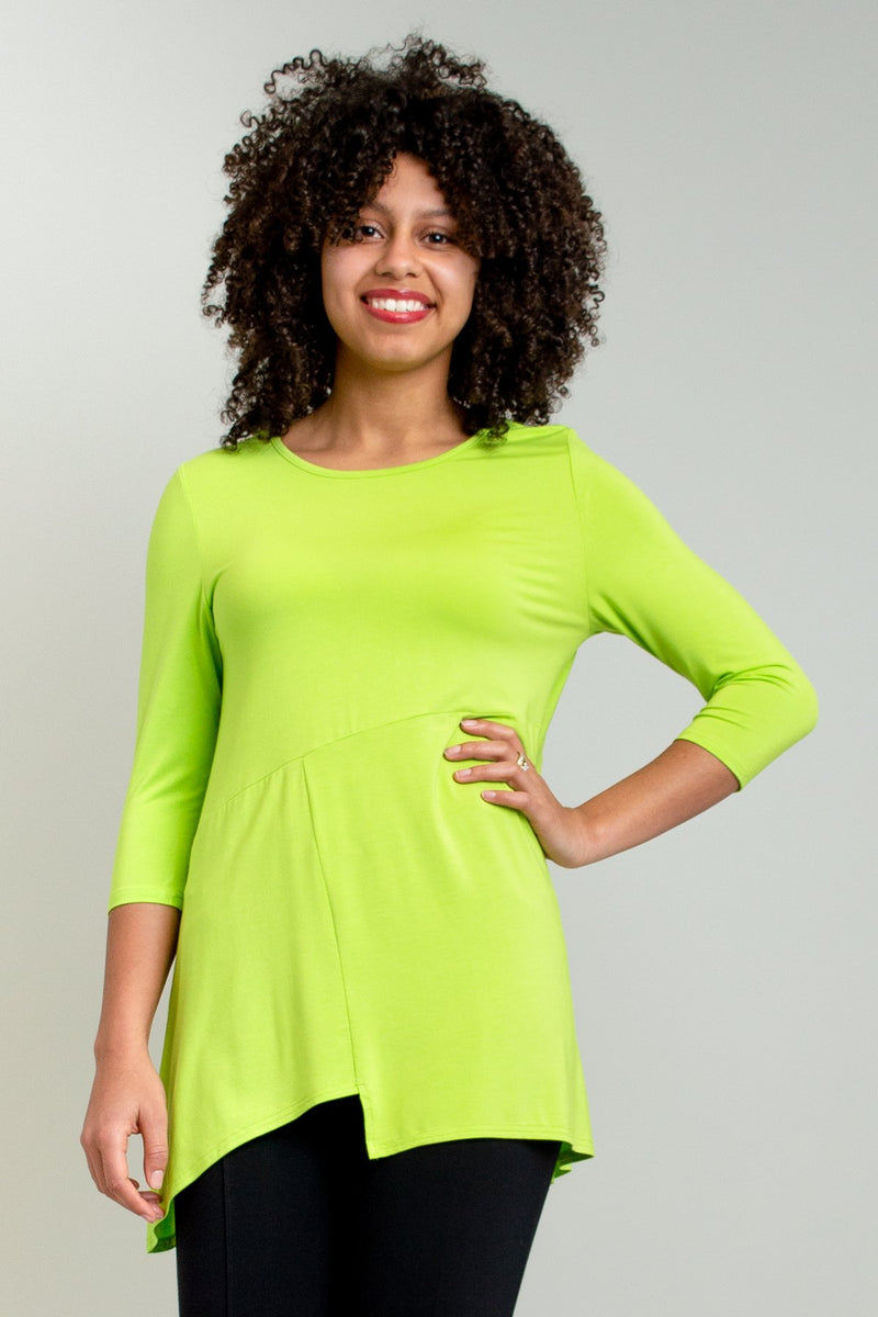 Women's chartreuse green 3/4 sleeve tunic dress. Made with sustainable and fair-trade natural fibers.