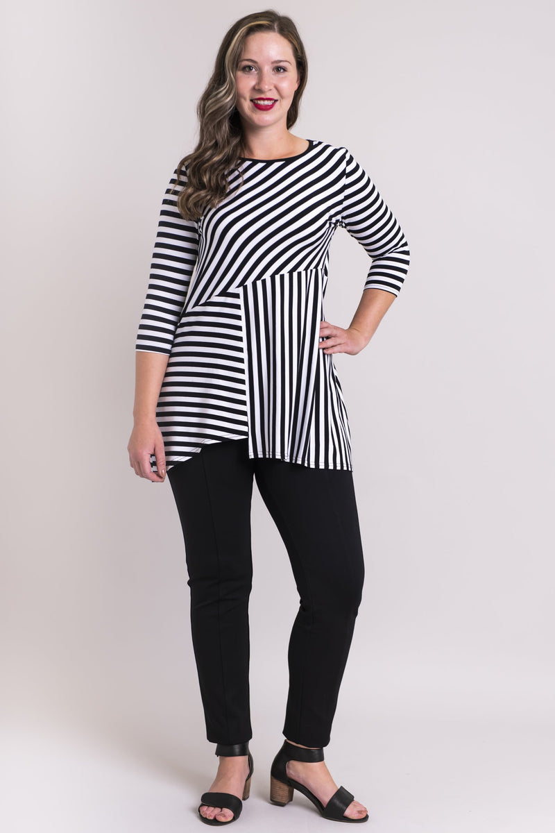 Charming Tunic, BW Big Stripe, Bamboo Modal