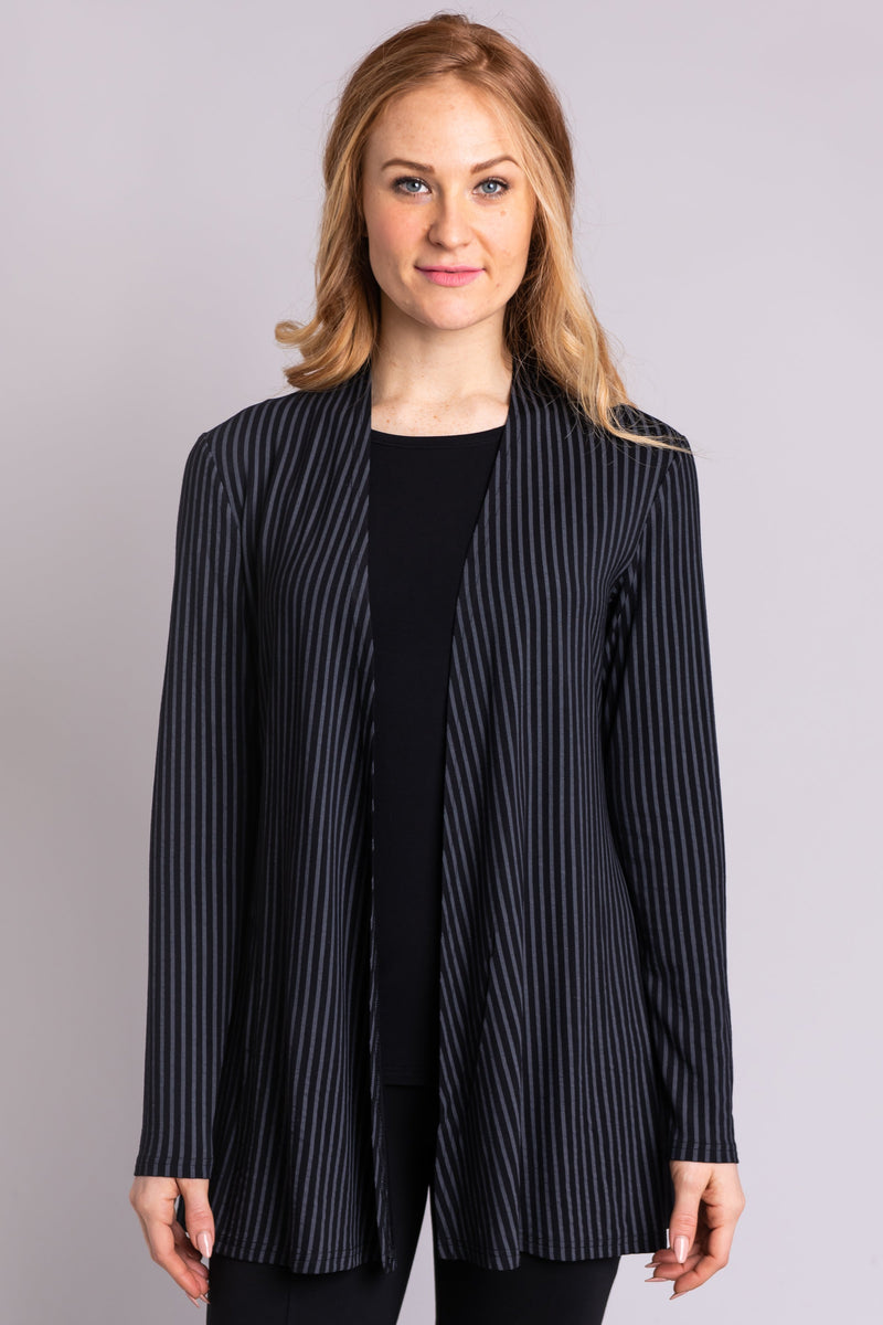 Women's black and grey stripe long-sleeve lightweight cardigan jacket.