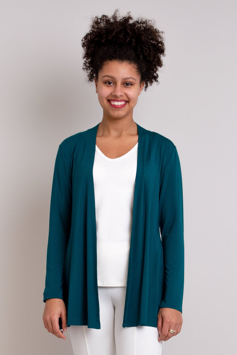 Women's casual, long and flowy teal green cardigan. Made with natural fibers, sustainable and fair-trade.
