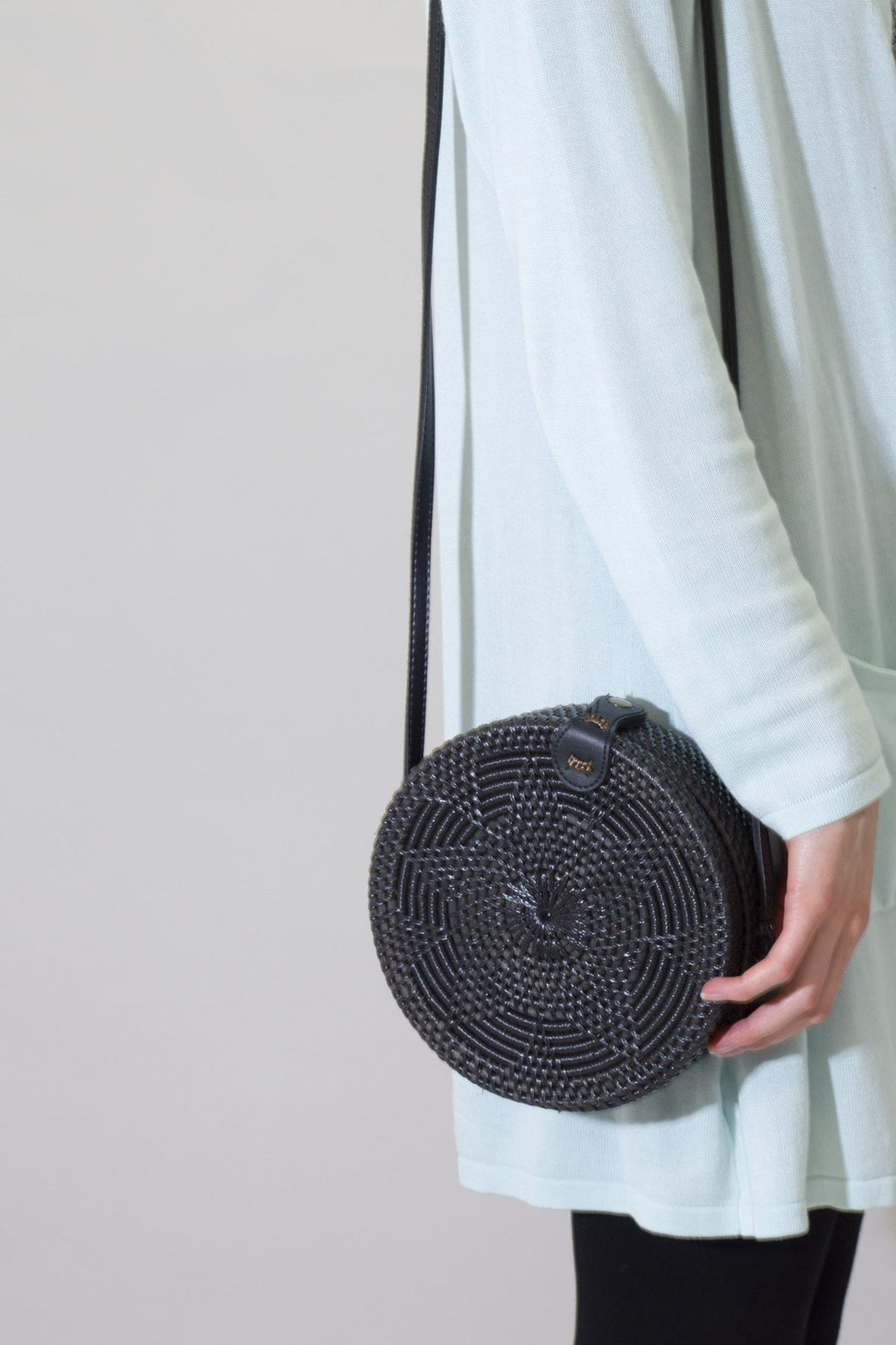 Round Rattan Purse, Black - Blue Sky Clothing Co