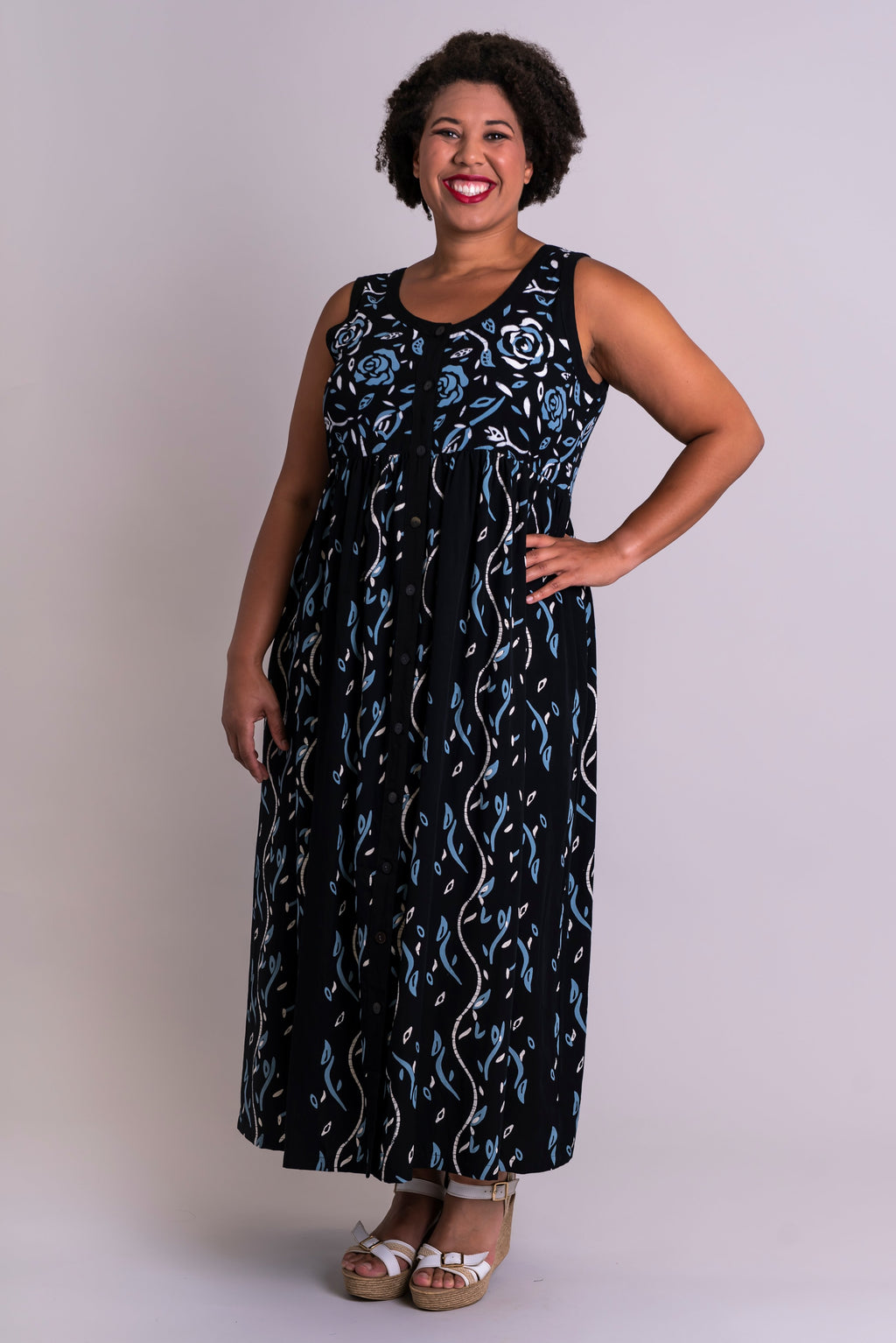 Cleo Dress, White Rose Garden, Batik Art - Blue Sky Clothing Co