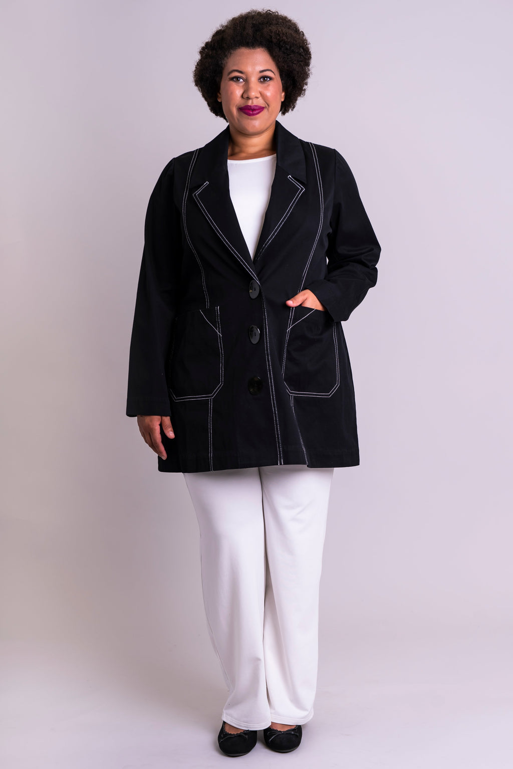 Cooper Jacket, Black/White, Cotton Stretch - Blue Sky Clothing Co