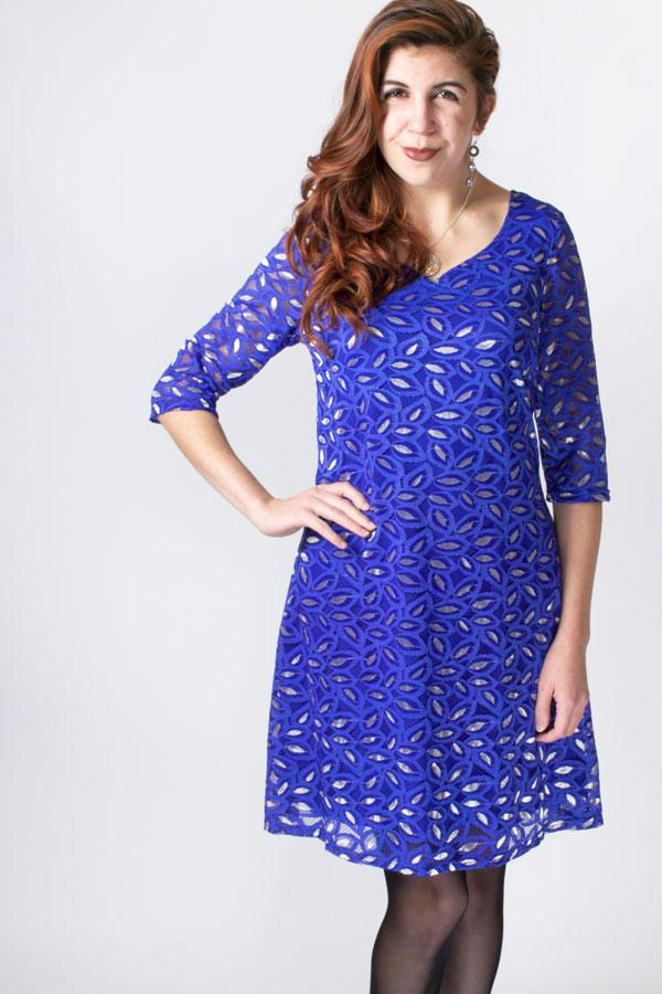 Cosette Dress, Cobalt/Silver, Bamboo Viscose - Blue Sky Clothing Co