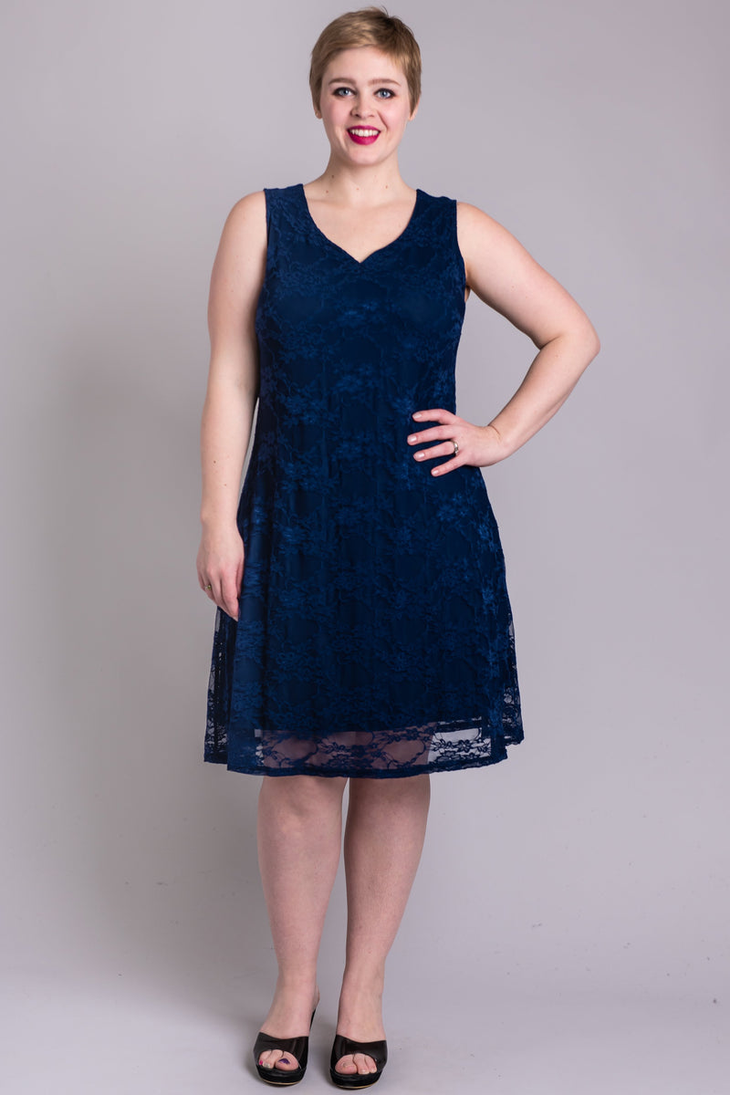Cosette Dress, Sleeveless, Indigo Aster