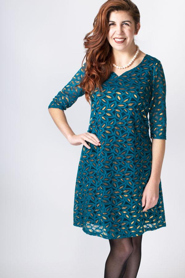 Cosette Dress, Teal/Gold, Bamboo Viscose - Blue Sky Clothing Co