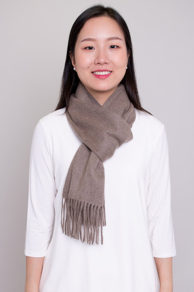 Women light brown taupe cashmere stylish warm scarf.