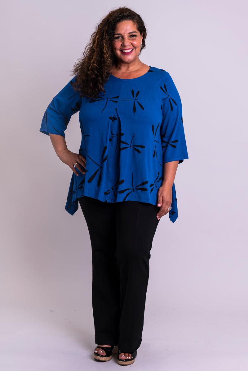 Daniella Top, Sapphire Dragonfly, Linen Bamboo - Blue Sky Clothing Co