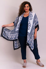 Women's white and blue batik art long sleeveless cover-up evening wrap lightweight shawl.