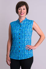 Women's blue floral print button up sleeveless fitted tailored top with mandarin collar.