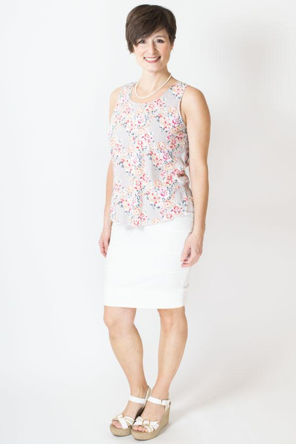 Dee Tank, Grey/Red Roses, Viscose - Blue Sky Clothing Co