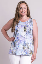 Women's white print, gently fitted sleeveless tank top with round neckline and wide shoulder straps.