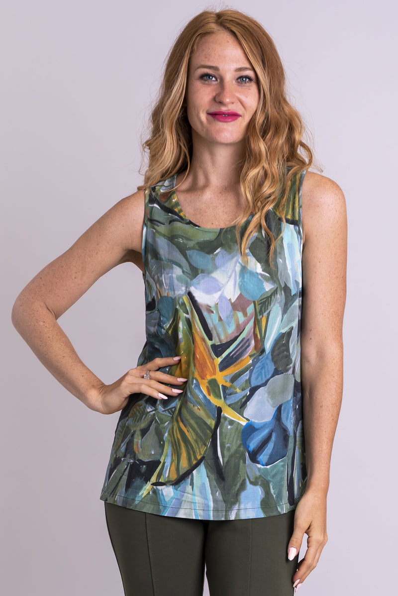Women's khaki green print tank top with U-neckline and wide straps.