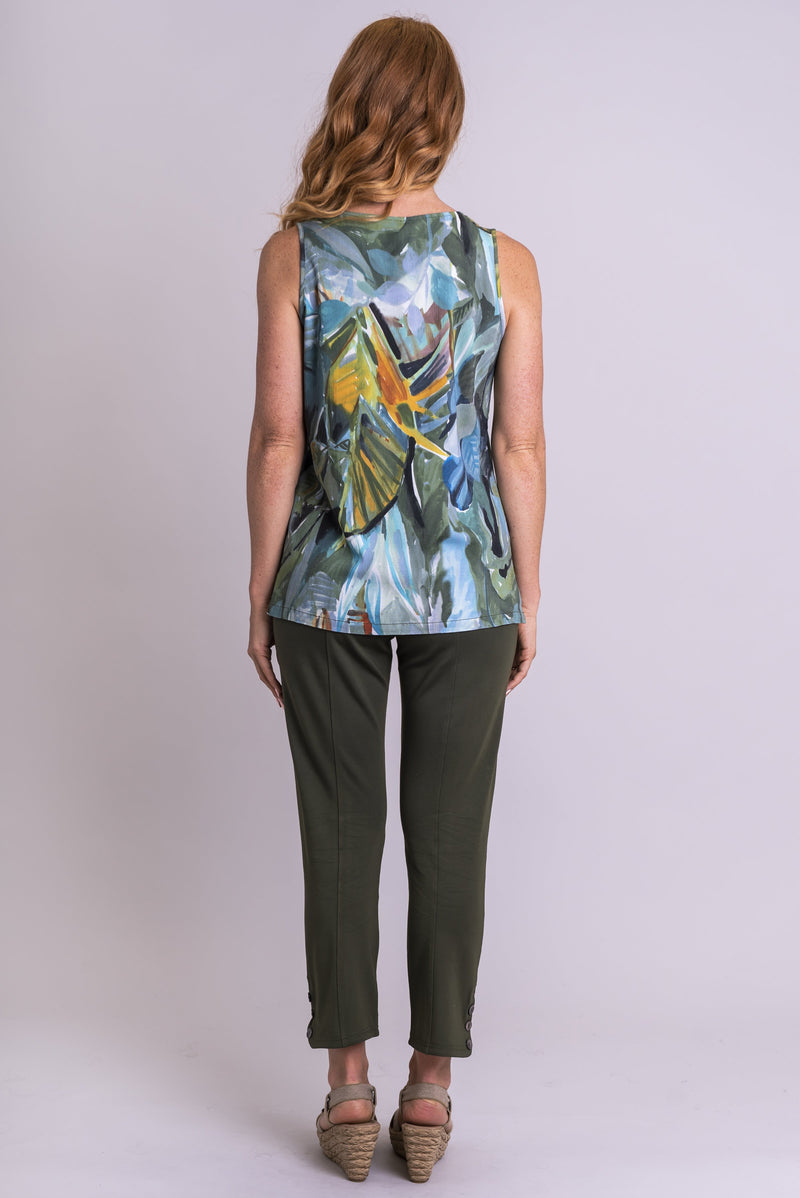 Dena Tank, Green Room, Linen Bamboo - Blue Sky Clothing Co