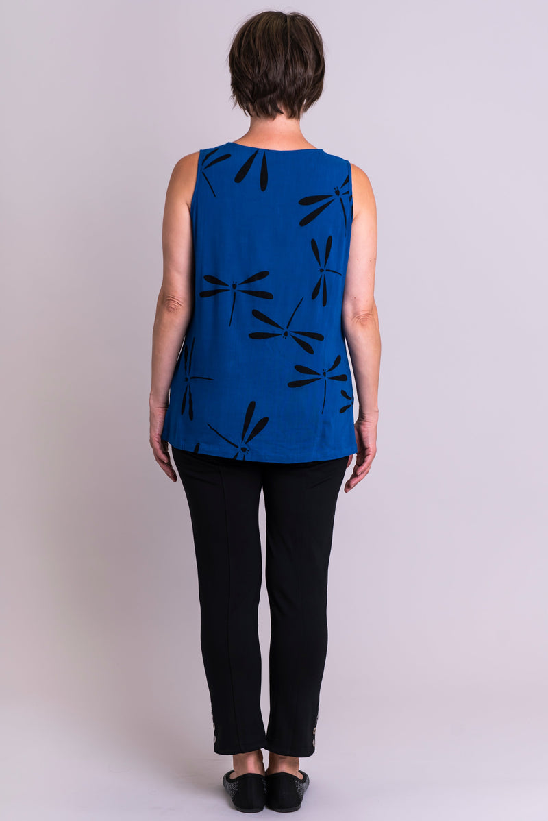 Dena Tank, Sapphire Dragonfly, Linen Bamboo - Blue Sky Clothing Co