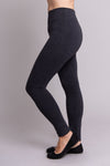 Grey, warm and comfy women's leggings with fleece interior. Made with sustainable and natural fibers, fair-trade, and available in plus-size. Left side view.