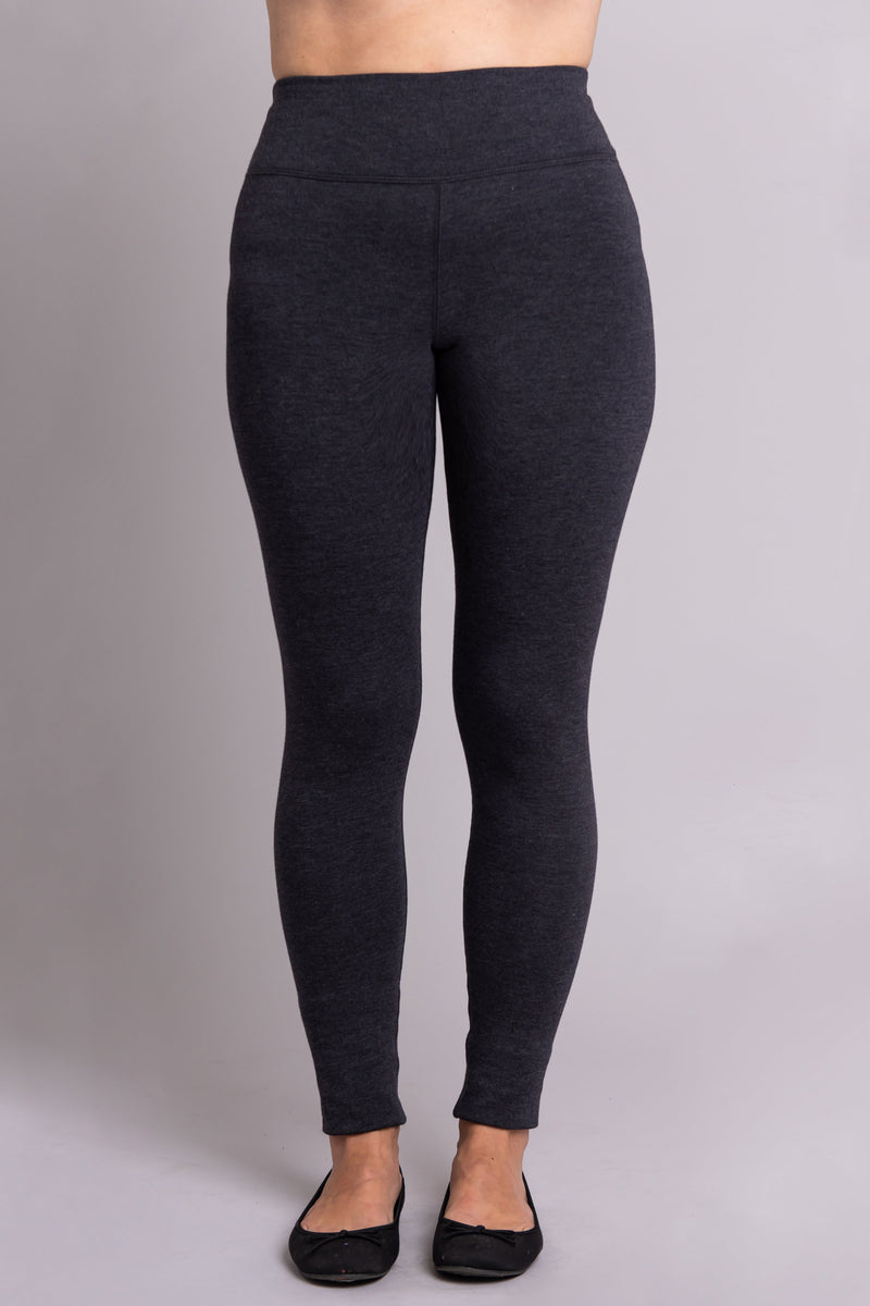 Grey, warm and comfy women's leggings with fleece interior. Made with sustainable and natural fibers, fair-trade, and available in plus-size.