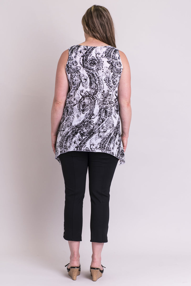 Dotty Tank, Black/White Paisley, Viscose - Blue Sky Clothing Co