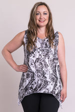 Women's sleeveless v-neck rayon flowy shirt.