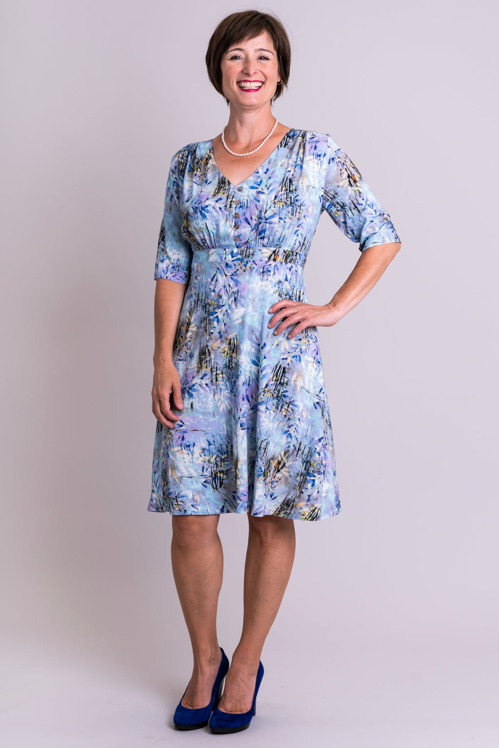 Emerson Dress, Blue Zest, Linen Bamboo