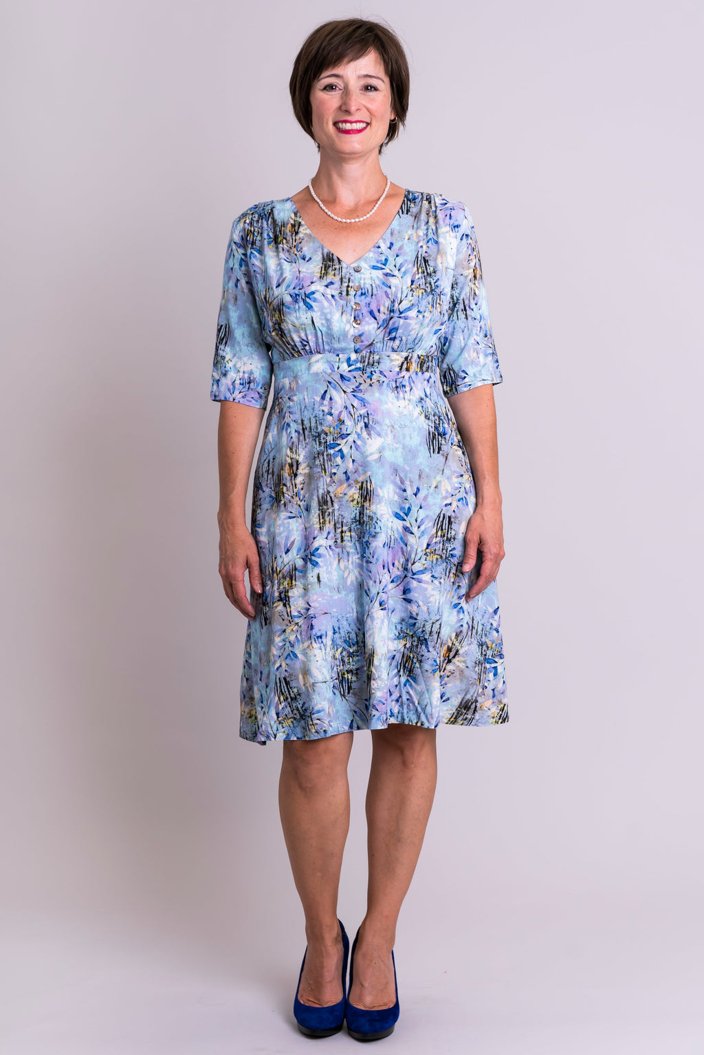 Emerson Dress, Blue Zest, Linen Bamboo - Blue Sky Clothing Co