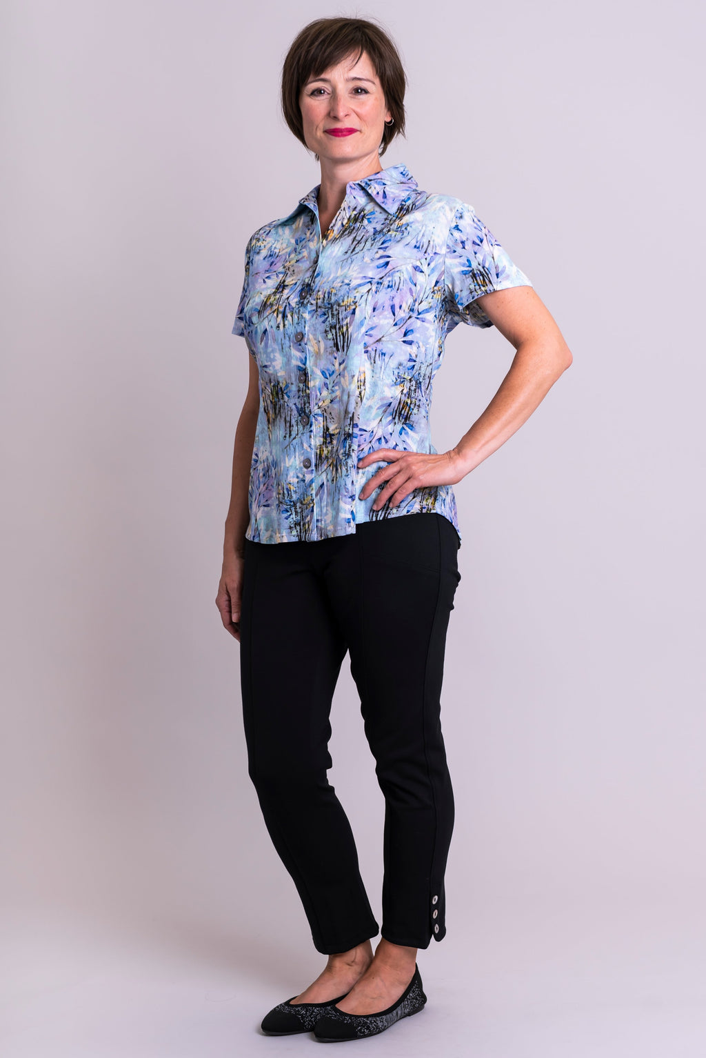 Esther Blouse, Blue Zest, Linen Bamboo - Blue Sky Clothing Co