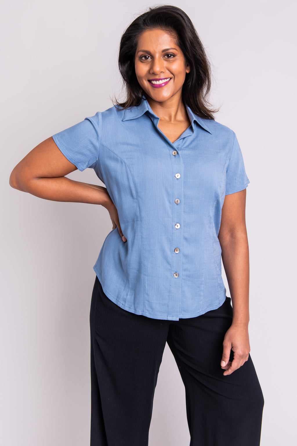 Esther Blouse, Dusty Blue