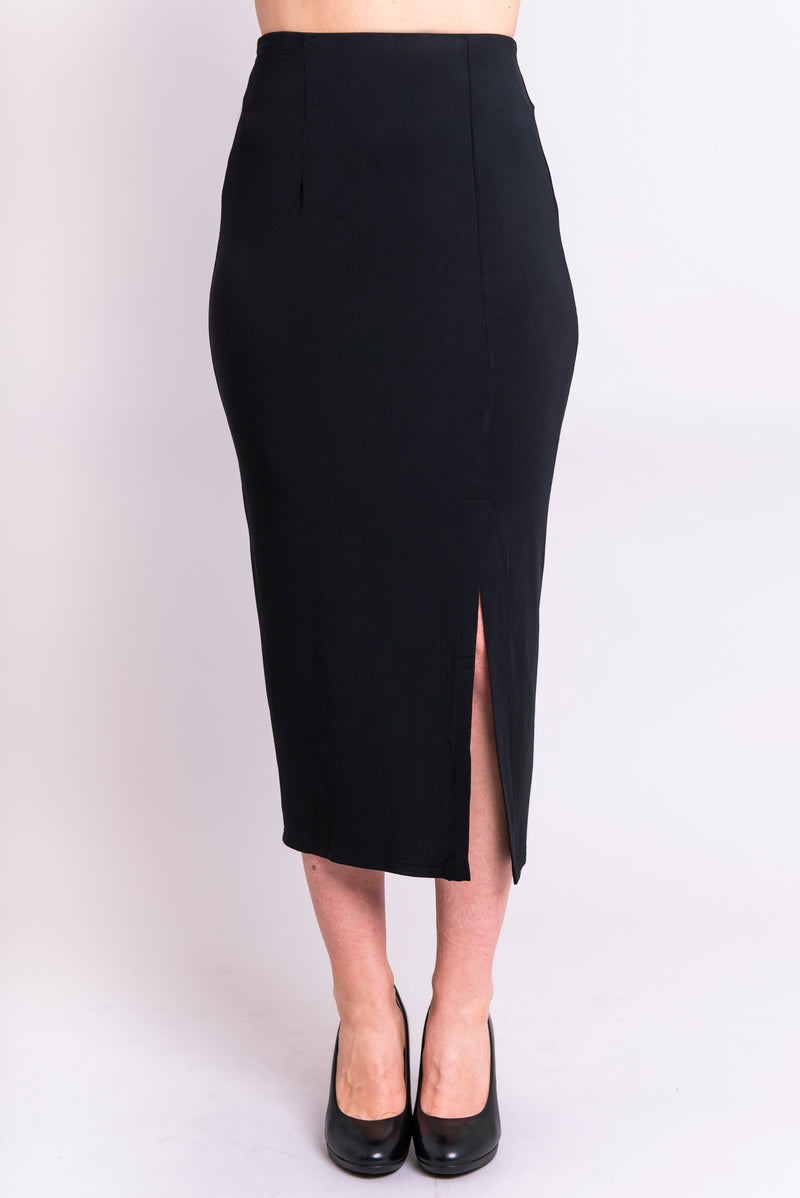 Women's black and long straight fitted pencil skirt with front slit and darts, made with stretchy natural bamboo fibers.