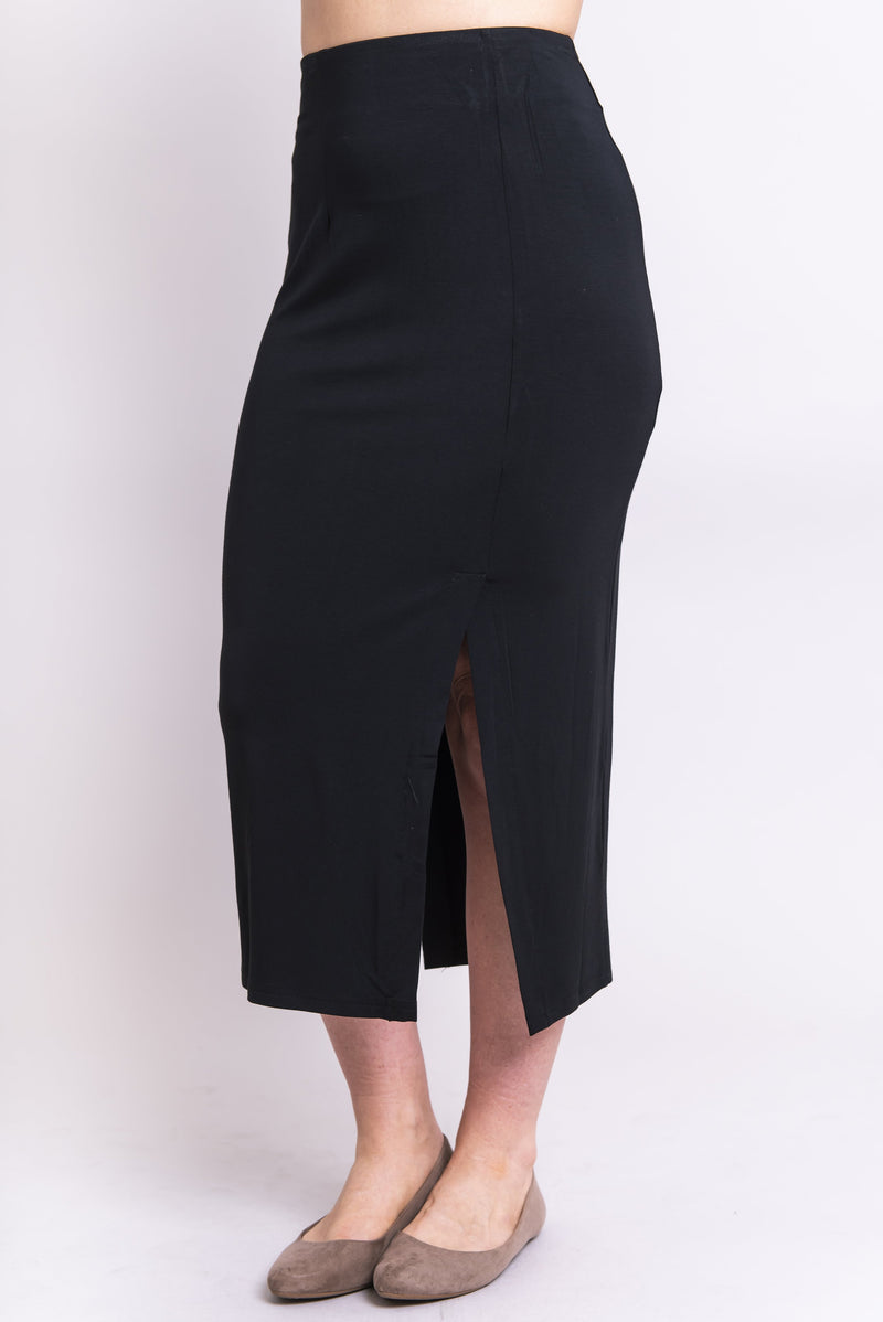 Women's black and long straight fitted skirt with front slit and darts.
