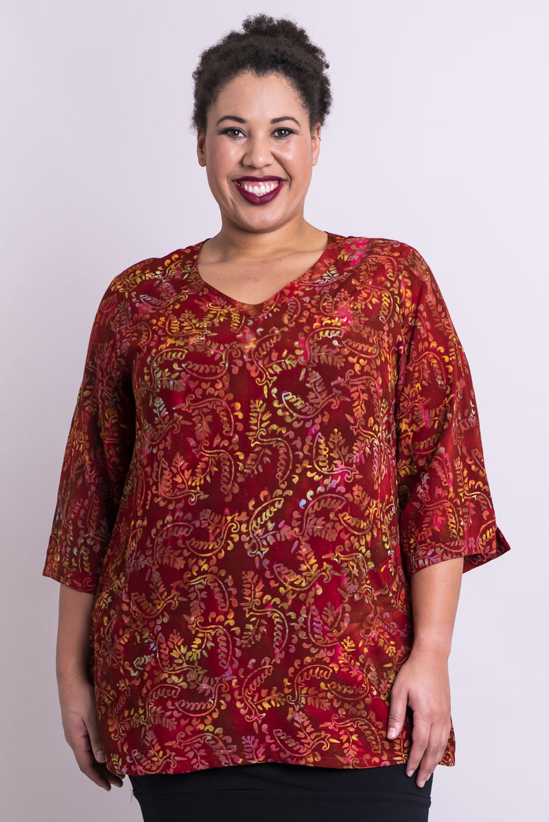 Women's plus-size dark red batik art loose 3/4 sleeve shirt with v-neck.