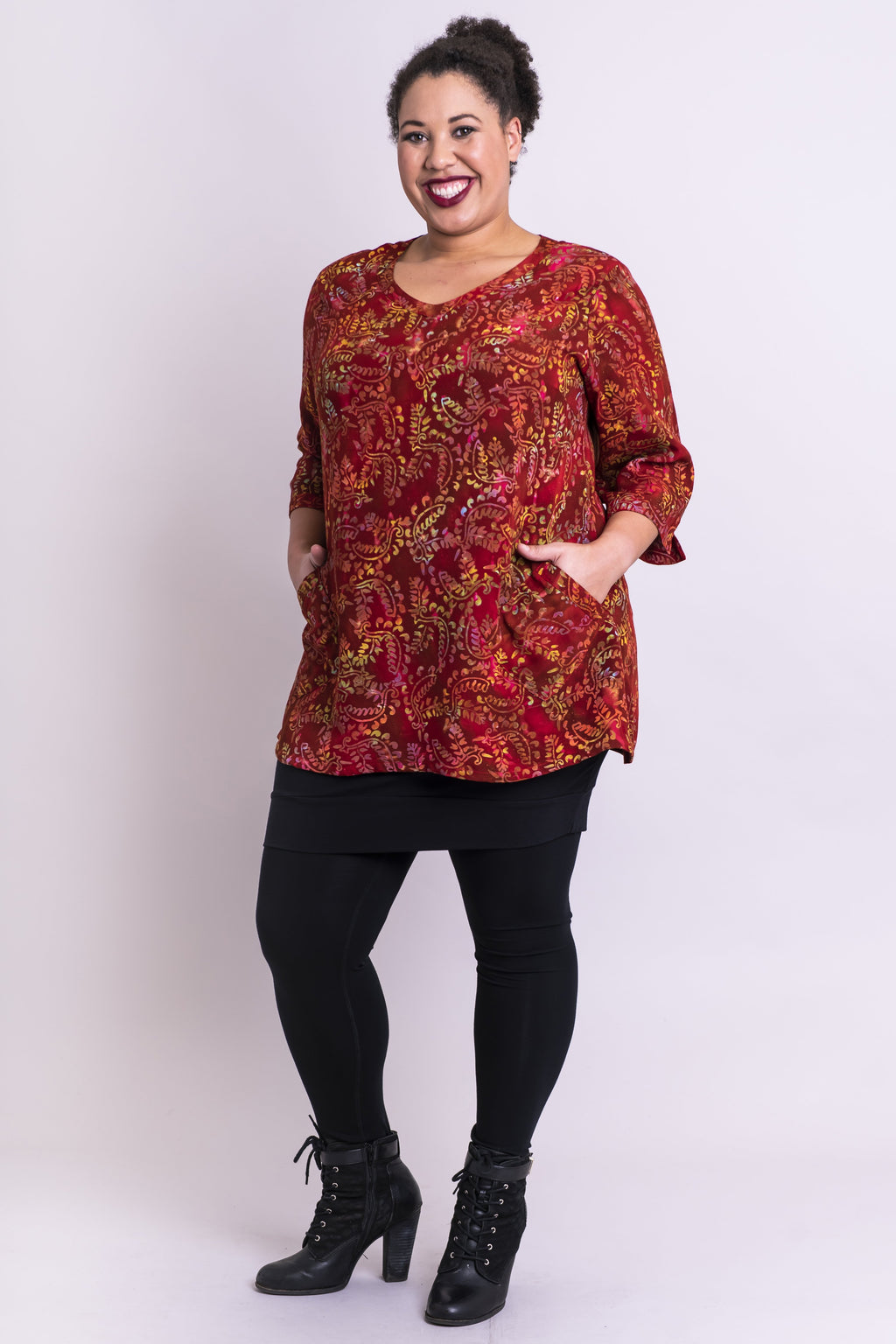 Evelyn Top, Earth Rust, Batik Art - Blue Sky Clothing Co