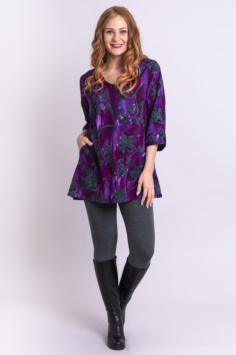 Evelyn Top, Purple Paradigm, Batik Art - Blue Sky Clothing Co