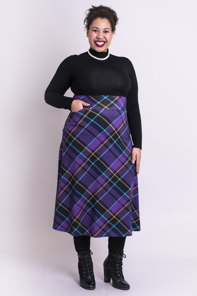 Women's long purple plaid high-waisted skirt with wide waistband and pockets.